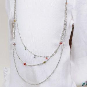 Rachel Beaded SilverTone Multi Strand Necklace#131